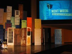 Use a variety of doors for a set design at church.  Gateway Community Church - Austin, TX | Yelp