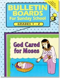 Bulletin Boards -- Grades 1-2 - Rose Publishing - Each of the 13 bulletin boards in this book includes easy-to-follow instructions, patterns and lettering to create displays that appeal to kids in grades 1 & 2. Bible memory verses, teaching tips and three decorative borders make this a book you will use year after year. 64 pages.