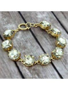 Platinum Crystal Goldtone Bracelet #preppy #crystalbracelet #designerinspired