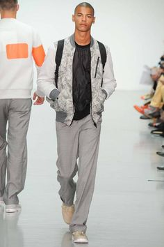 Faint floral print plus relaxed pants  Christopher Raeburn | Spring 2015 Menswear Collection | Style.com