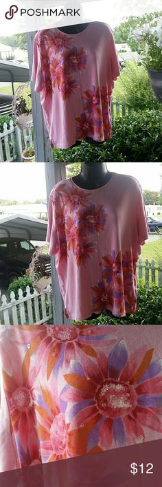 PRETTY IN PINK FLORAL TOP Awesome floral print with embellish sequences to give it an extra pretty style GORGEOUS colors on theflowers too pink red orang purple and white very comfy and strechy  60% cotton 40% polyester BASIC EDITIONS PLUS Tops Tees - Short Sleeve
