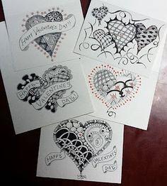 Zentangle inspired Valentines