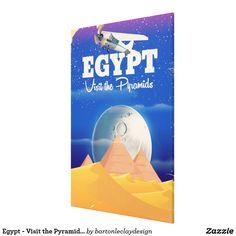 Egypt - Visit the Pyramids Vintage travel poster Canvas Print