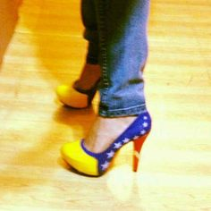 Omg love the wonder women high heels ! At least that's what it looks like :)