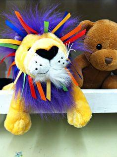 What a cutie little lion!  #lion #purple #bear #plush #rainbow