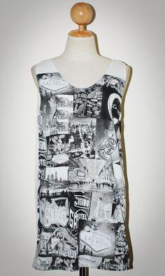 Las Vegas All Casino White Singlet Tank Top Photo Art Punk Rock Pop Animal T-Shirt Size L