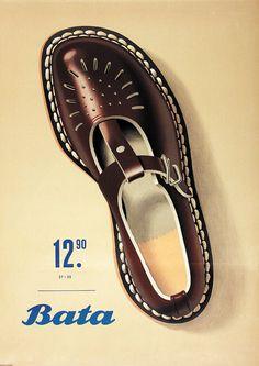 Peter Birkhäuser, illustration for an advertising poster of Bata Shoes, 1952. Switzerland.