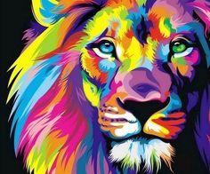 rainbow lion art