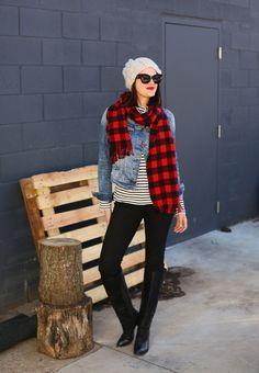 Buffalo Plaid, Stripes, Fall Outfit, Jean Jacket, What I Wore