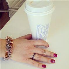 Stacked bracelets + rings= Fabulous Stella & Dot office style.