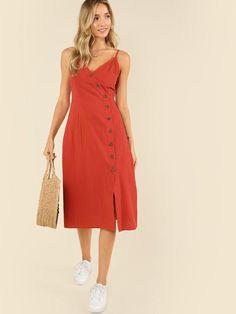 9753c0aa05 Buttoned Wrap Front Cami Dress -SheIn(Sheinside)