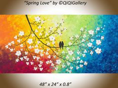 """***TITLE: """"Colours of Love ***SIZE: 48 x 24 x 0.8 ***THEME: Love birds on tree branches. ***MEDIUM: Professional grade acrylics or oils on"""