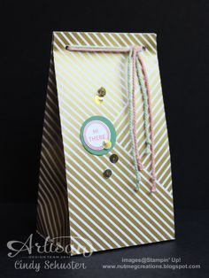 Hi There! gift bag using Gold Soiree Specialty DSP by Nutmeg Creation Cindy Schuster