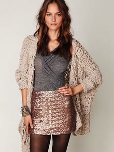 Fever Sequin Bodycon Skirt...I love the mix of textures