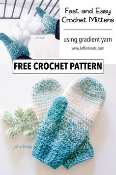 Warm Wool-ish Mittens – Free Crochet Pattern Use this free crochet pattern to make a pair of easy, one skein mittens. The Warm Wool-ish Mittens are made using Lion Brand Scarfie yarn and are easy enough to crochet even if you've never made mittens before! One Skein Crochet, Crochet Mitts, Crochet Mittens Free Pattern, Crochet Gratis, Crochet Slippers, Easy Crochet, Free Crochet, Knitting Patterns, Crochet Patterns
