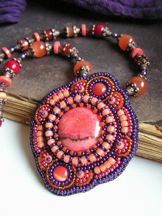 Bead embroidered Pendant Necklace Rhodochrosite Cats eyes cabochons Maroon Claret Orange Purple