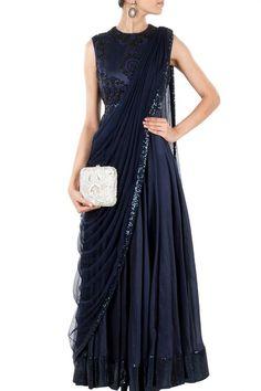 Navy Blue long anarkali dress with draped dupatta Fashion Designer, Indian Designer Wear, Designer Dresses, Indian Attire, Indian Outfits, Indie Mode, Indian Gowns Dresses, Desi Clothes, Indian Couture