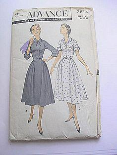 1950s Advance 7814 Lucy Style 3/4 Sleeve Dress Shirtwaist Bust 32