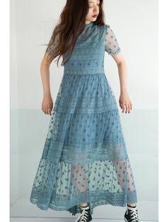 チュールエンブロイダリードレス(膝丈ワンピース)|FURFUR(ファーファー)|ファッション通販|ウサギオンライン公式通販サイト