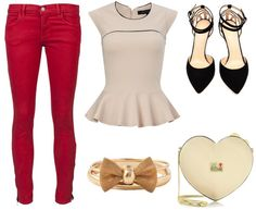 Valentine's Day Outfit - Red Jeans, Peplum Top, Heart & Bow Accessories