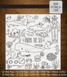 32 Under the Sea Clip Art Bundle Under The Sea Drawings, Under The Sea Clipart, Under The Sea Decorations, Shark Illustration, Drawn Fish, Planner Doodles, Animal Doodles, Illustrator Cs5, Outline Drawings