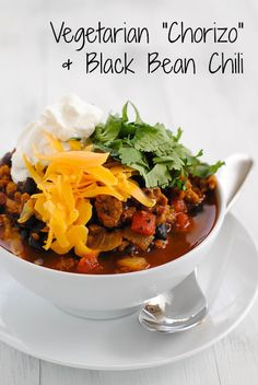 """Vegetarian """"Chorizo"""" & Black Bean Chili - A hearty and healthy chili made with chorizo-flavored seitan that will fool even the biggest meat lovers! 