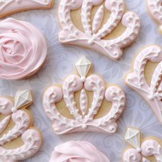 "325 Likes, 13 Comments - Anna (@thesweetesttiers) on Instagram: ""Pink cookies for a little princess. #crowncookies #princesscookies #thesweetesttiers #flowercookies…"""