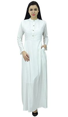 5494b009a527  24.99 Bimba Women s Long Sleeve Maxi Mandarin Collar Plain Jilbab Dress  With Pockets