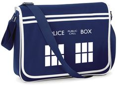 TARDIS Police Box Retro Messenger Bag - FREE Shipping - Whovian Geek Fan Doctor…