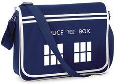 TARDIS Police Box Retro Messenger Bag - FREE Shipping - Whovian Geek Fan Doctor…