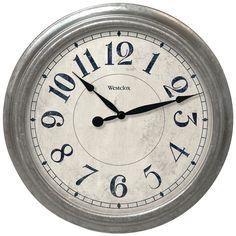 "Westclox 15.5"" Round Galvanized Finish Gray Wall Clock"