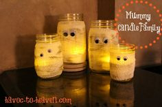 Mummy candle family.