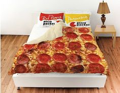 Give yourself one more reason to never want to get out of bed in the morning by snuggling up with this pepperoni pizza bed cover. The duvet comes emblazoned with a realistic image of a mouth-watering cheesy and greasy pizza pie.]Read More. Best White Elephant Gifts, Queen Duvet, Cool Beds, Awesome Beds, Bed Covers, Pepperoni, Pillow Shams, Yorkshire, Cool Furniture