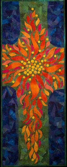 Pentecost by Larkin Jean Van Horn Church Banners, Church Design, Church Crafts, Altar Decorations, Sacred Art, Applique Quilts, Christian Art, Religious Art, Fabric Art