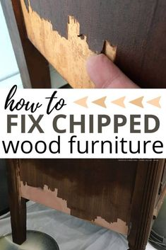 The Best Way to Fix Chipped Wood Furniture How to fix chipped wood furniture before painting furniture. You can fix the chipped veneer in less than an hour with Bondo. Yes, you can use bondo on wood! So fix your peeling veneer on your painted furniture Diy Furniture Renovation, Furniture Fix, Do It Yourself Furniture, Refurbished Furniture, Repurposed Furniture, Furniture Makeover, Barbie Furniture, Garden Furniture, Furniture Design
