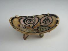 "Small Stylized Flower Tray | 2"" x 5"" x 3""  | Carol Long Pottery"
