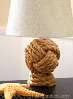 Making the Pottery Barn Monkey Fist Knot Rope Table Lamp