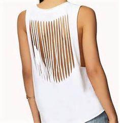 Sew T-Shirt diy tank top t shirt summer is Ways To Cut Shirts, Diy Cut Shirts, Old T Shirts, T Shirt Diy, Shirts & Tops, Band Shirts, Cutting T Shirts, Tank Tops, Diy Fashion