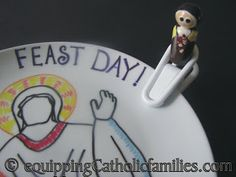 It's My Feast Day Plate! - Equipping Catholic Families - DIY Sharpie plate how-to with template!  Celebrate being Catholic! <3
