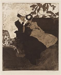 Jacques Villon,  La Cigarette,  1901,  Colour etching and aquatint printed in brown and brownish black,  418 x 343 mm,  Signed, Artist's proof, aside from the edition of 46   from:  www.mutualart.com