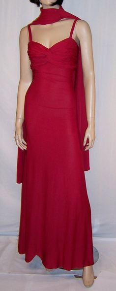 #Vintage 1930's Scarlet Red Art Deco Evening Gown with Wrap