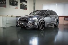 ABT Sportsline presented in the Geneva Motor Show this Audi today ABT announced new photos of the car painted in gray with a bodykit, new bumpers, side skirts, spoiler. Audi Q7, Audi R8 V10 Plus, Audi Cars, Highest Price Car, Crossover Cars, Suv 4x4, Volkswagen Group, Suv Trucks, Car Goals