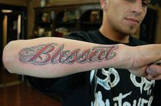 Script/Lettering Blessed by James Danger Tattoo, via Flickr  #script #style #font