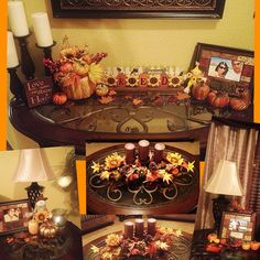 Fall decorations in living room, entry table and end tables fall decor. I have those tables! Fall Decorations, Thanksgiving Decorations, Fall Harvest, Autumn, Foyer Ideas, Fall Table, Fall Halloween, End Tables, Open House