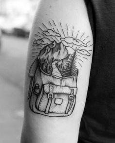 60 Hiking Tattoos for Men – Outdoor Trek Design Ideas - outdoor tattoo Tattoos 3d, Bild Tattoos, Tattoos For Guys, Tattoos For Women, I Tattoo, Cool Tattoos, Tatoos, Lost Tattoo, Club Tattoo
