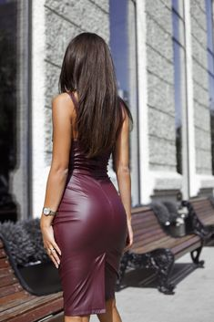 PU Slit Back Spaghetti Strap Bodycon Dress Sexy Outfits, Sexy Dresses, Tight Dresses, Cute Outfits, Prom Dresses, Trend Fashion, Womens Fashion, Leather Bodycon Dress, Black Leather Dresses