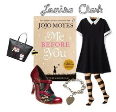 """""""Louisa Clark - Me Before You"""" by sheepsy ❤ liked on Polyvore featuring Alice + Olivia, Chicsense, Tiffany & Co., Irregular Choice, Kate Spade, Karl Lagerfeld, book and MostLovedCharacter"""