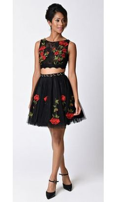 Black & Red Rose Embroidered Tulle Two Piece Short Dress for Homecoming 2016