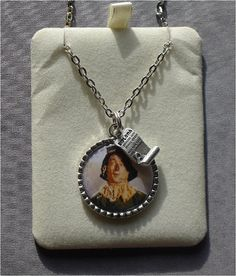 Wizard of Oz - Scarecrow Epoxy Necklace with Diploma Charm