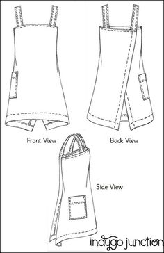 Express your style with Indygo Junction's Origami Apron pattern. The contemporary shape allows for overlapping in the back to provide a comfortable fit & coverage all around. Choose from a single thickness or make it reversible with two fabrics. Tunic Sewing Patterns, Sewing Aprons, Sewing Clothes, Clothing Patterns, Diy Clothes, Apron Patterns, Dress Patterns, Sewing Hacks, Sewing Crafts
